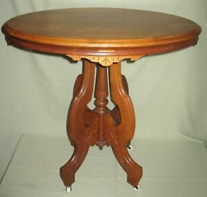 ANTIQUE VICTORIAN WALNUT OVAL PARLOR LAMP TABLE 1860-80