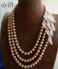 3Strands 19'' Pink Round Freshwater Pearl Agate Flower Necklace
