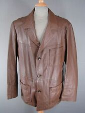 FANTASTIC VINTAGE 1980's CLASSIC BROWN LEATHER JACKET 46 INCH XL