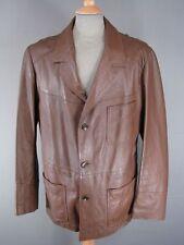 Fantastico VINTAGE 1980'S CLASSIC brown leather jacket 46 POLLICI XL