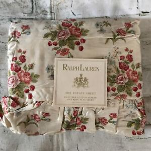 FAB! VTG Ralph Lauren Emily Anne Tan Floral Ruffled King Size Flat Sheet USA
