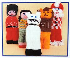 "Knitting Pattern • Cuddly Clutch Toys Dolls • Lion Cat Clown Soldier Girl 8-10"""