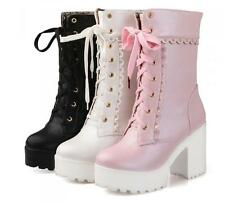 Womens Lolita Sweet  Shoes Block High Heels  Platform Lace Up Ankle Riding Boots