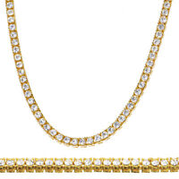 """Men's Fashion CZ Iced Out 4 mm 26"""" 14K Gold Plated Stone Tennis Chain Necklace"""