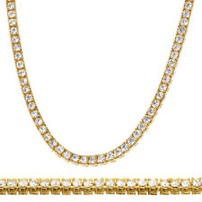 """Men's Fashion CZ Iced Out 4 mm 24"""" 14K Gold Plated Stone Tennis Chain Necklace"""