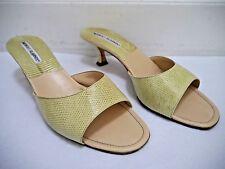 MANOLO BLAHNIK light green lizard slide sandals heels Italian size 38