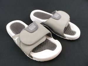 Jordan Hydro 5 Premier Youth Boys Slides Flip Flops Sandals White Gray - Size 6Y