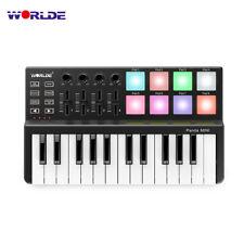 WORLDE MINI 25-Key MIDI Keyboard Controller 8 Colorful Backlit Trigger Pads E6W2