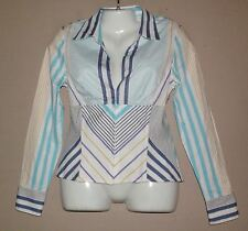 Womens CACHE Striped Shirt Top Blouse Size 12  Corset Stays Bustier Seams
