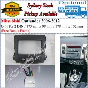 Harness + Fascia facia Fits Mitsubishi Outlander 2006-2012 Two 2 DIN Dash Kit