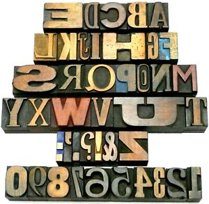 """Letterpress WOOD Type 1"""" MIXED Alphabet + Numbers 42pcs **VERY RARE Selection**"""