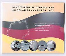 Deutschland Offizieller Blister mit 5 Stück 10 Euro Silber Gedenkmünzen 2002 PP