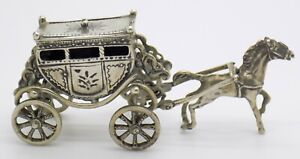 Vintage Solid Silver Italian Made Royal Carriage Figurine Stamped Miniature