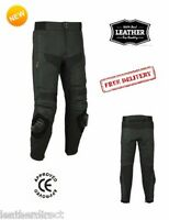 Mens CE Armoured Quality Cowhide Leather Motorcycle Touring Jeans Trousers Pants