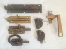 7 ANTIQUE BRASS  FURNITURE DRAWER OR DOOR-CLOSET LOCKS  ASSORTMENT