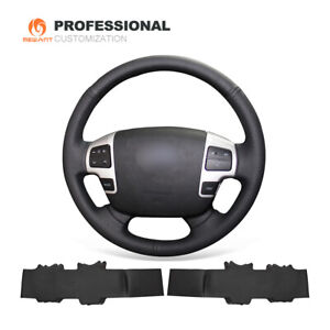 DIY Black Leather Steering Wheel Cover for Toyota Land Cruiser Tundra Sequoia