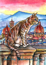 """ACEO LE Art Card Print 2.5x3.5"""" Cat In Florence""""Cityscape Animal Art by Patricia"""