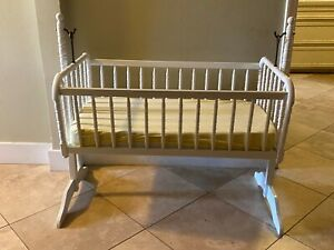 """Vintage Jinny Lind Cradle with 4"""" mattress, Sheets,  White, Antique"""