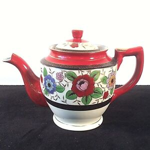 JAPAN COFFEE TEA POT RUST RED BLACK GOLD RINGS MULTI COLOR FLORAL STRONG COLOR