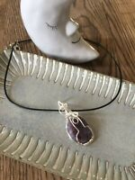 Hand Crafted Wire Wrapped Polished Lepidolite Necklace Pendant