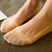 Fashion Solid Women's Non-Slip Silicone Invisible Lace Ankle Boat Low Cut Socks