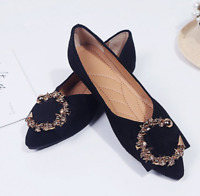 Womens Fashion D'Orsay Glitter Pointed Toe Flats Office Non-slip Prom Flats Shoe
