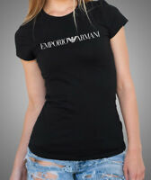 EMPORIO ARMANI WOMENS BLACK T-SHIRT Size S, M - Chest Logo - SLIM FIT, NEW