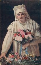 Polish artist signed vintage postcard PORTAELS - May flowers