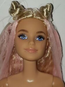 Nude Barbie Doll Extra #3 Long Blonde Pink Hair Articulated Millie Doll