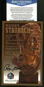 Roger Staubach Bas Beckett Autograph  Hof Bust Postcard #/150 Hand Signed