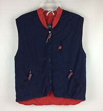 Hummelsheim Cotton Quilted Vest 44 Chest Navy Blue Bunny Rabbit Skiing Germany