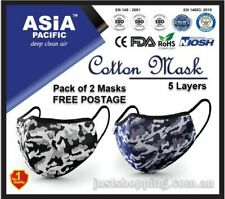 Premium Reusable 5 Layers Cotton Face Mask - 2 Pack