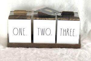 Rae Dunn ONE TWO THREE Wood Organizer Set of 3 Lidded Boxes Bathroom Desk Vanity