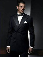 Men Black Double Breasted Suit Wedding Grooms Dinner Casual Suit (Coat+Pants)