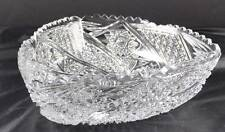 """Deep Cut Clear Crystal 10"""" Triangular Bowl Pinwheel Scalloped Sawtooth Quilted"""