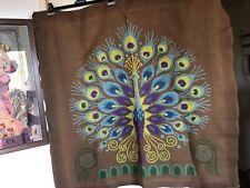 Magnifique Tapisserie canevas oiseau Paon fait main vintage an 60/70 99*94 cm