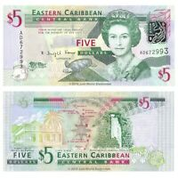 East Caribbean States 5 Dollars 2008 P-47a Banknotes UNC