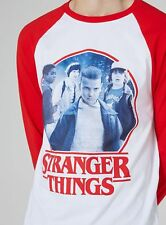 NEW Official Stranger Things x Topman Topshop Red Raglan T-Shirt SIZE Large