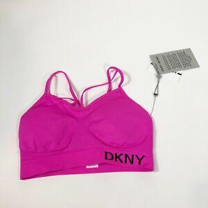 DKNY Para Dama Sports Bra S Pink Strappy Medium Support Athleisure Women's New