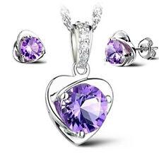 Womens 925 Silver Pendant Necklace Stud Earrings Set Amethyst Heart Jewelry