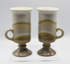 2-Pedestal Irish Coffee Mug Cup Hand Crafted Stoneware