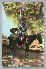 Mariachi Boy & Pretty Girl on Horse MONTERREY Nuevo Laredo RPPC Photo Guitar '36