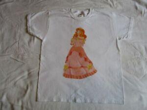 Beau Blond Princesse Rose Robe Disney Style Dessin Animé T-Shirts pour Filles