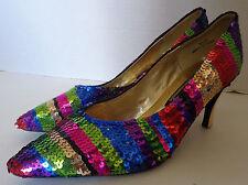 New listing 1980s Vintage Multi Color Sequin Shoes High Heel J. Renee 8 1/2 M