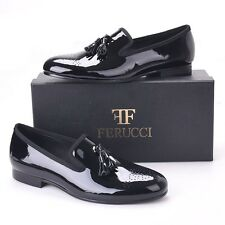 FERUCCI Black custom-made Patent Leather Slippers loafers with black Tassel