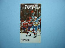 1979/80 MUTUAL LIFE OF CANADA NHL HOCKEY SCHEDULE