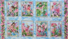 Whisper Flower Fairies Printed Cotton Quilting Sewing Fabric 8 Panels