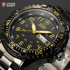 SHARK ARMY Date Black Steel Strap Army Military Quartz Men's Sport Wrist Watch
