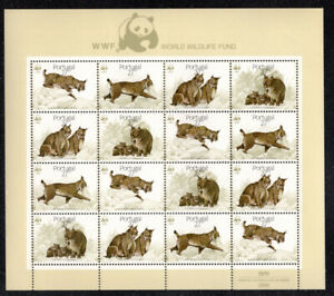 1988 Portugal Nature Protection - Lynx. Miniature Sheet #7 w/4 sets. MNH. CAT.