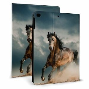 Black Running Horse for iPad 7/8th Air1/2/3 2017/2018 TPU Smart Stand Case Cover
